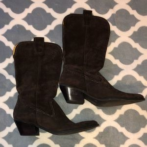 Gianni Bini Brown Suede Cowgirl Boots